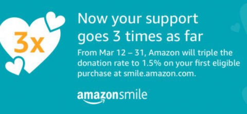 Amazon Smile Triples Their Donation to Non-Profits March 12th-31st