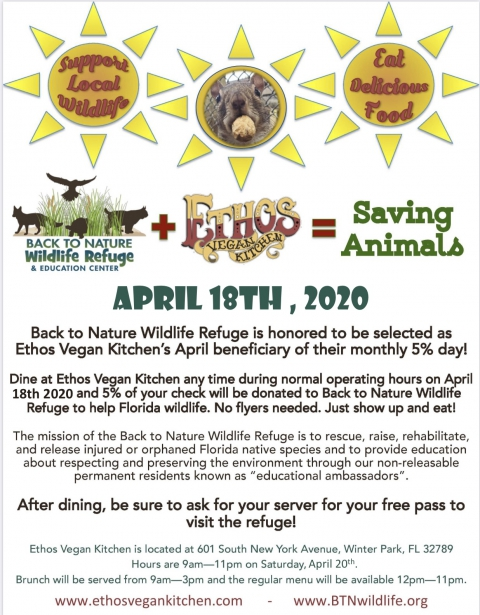 Ethos Restaurant 5% Day April 18th