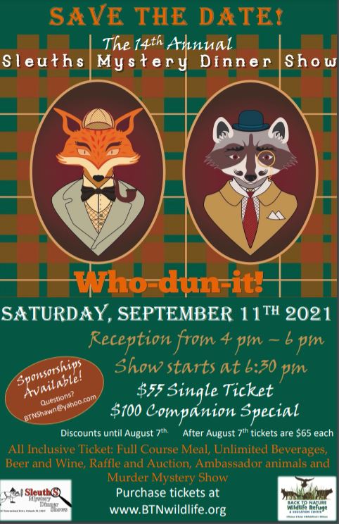 2021 SLEUTHS MYSTERY DINNER SHOW   9/11 @ 6:30 PM (EDT)